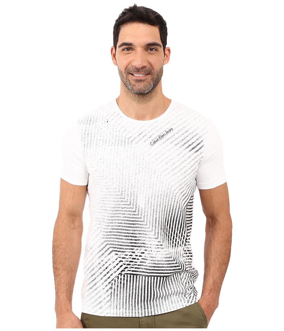 Calvin Klein Jeans - Fade Linear Crew Neck Tee (White) Men