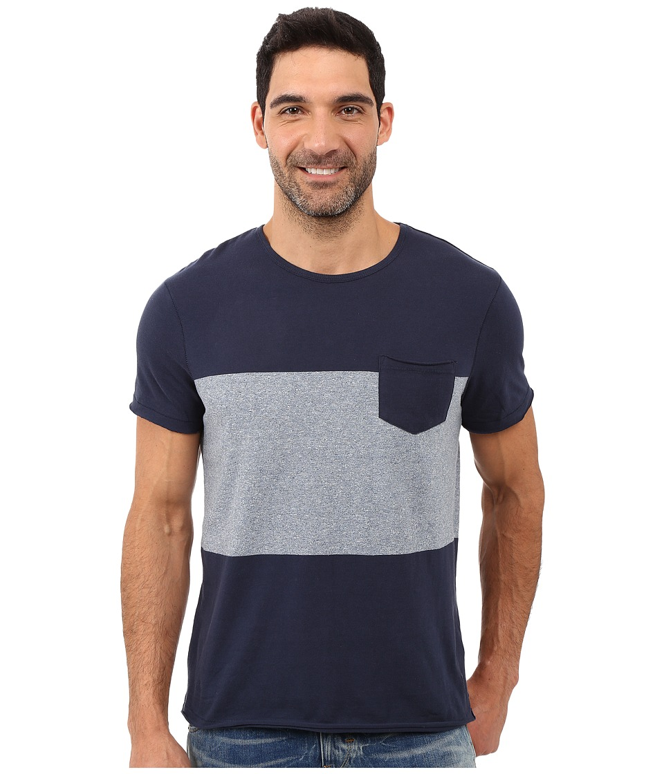 Calvin Klein Jeans - Short Sleeve Modern Stripe Block Crew (River) Men