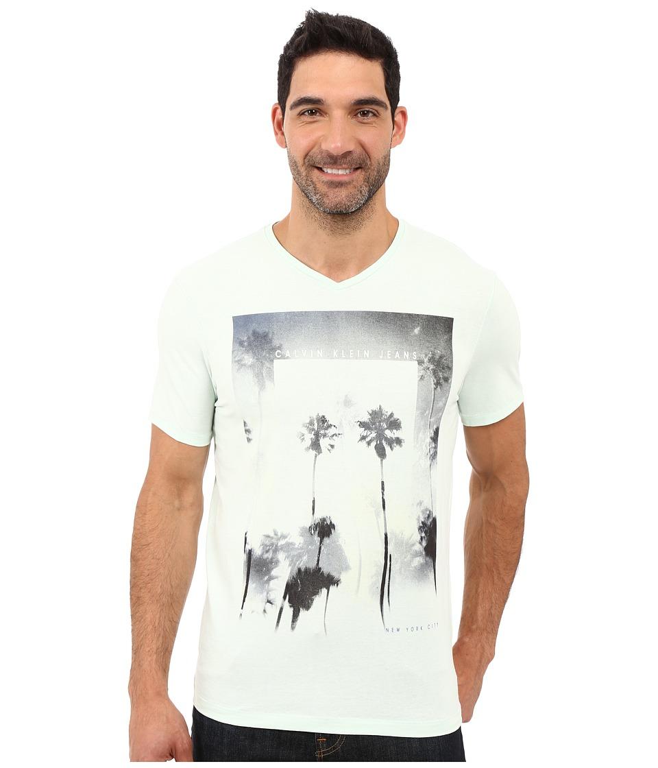 Calvin Klein Jeans - Palm Trees V-Neck Tee (Opal Blue) Men