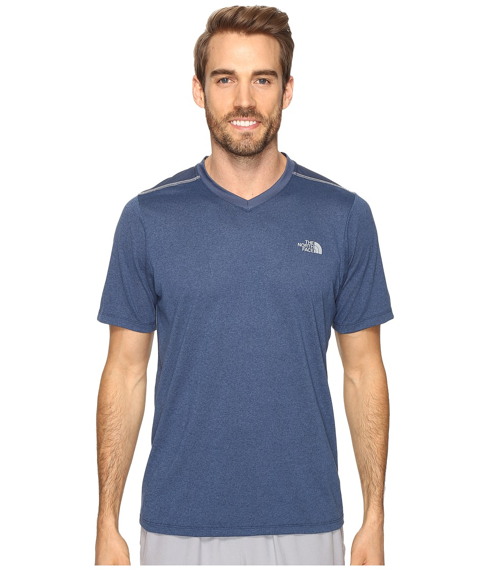 The North Face Reactor Short Sleeve V-Neck (Shady Blue Heather) Men