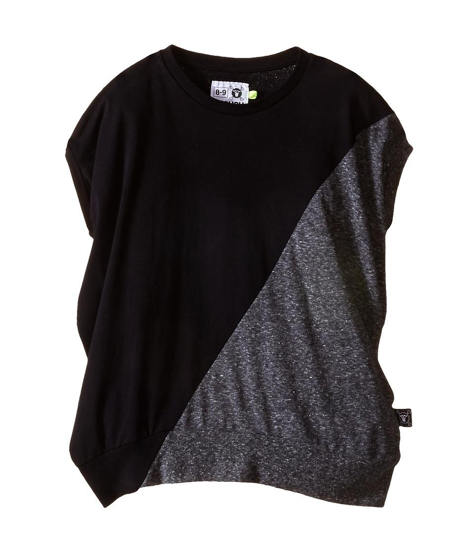 Nununu 1/2 1/2 Round Shirt Little Kids/Big Kids Black/Charcoal Kids Clothing