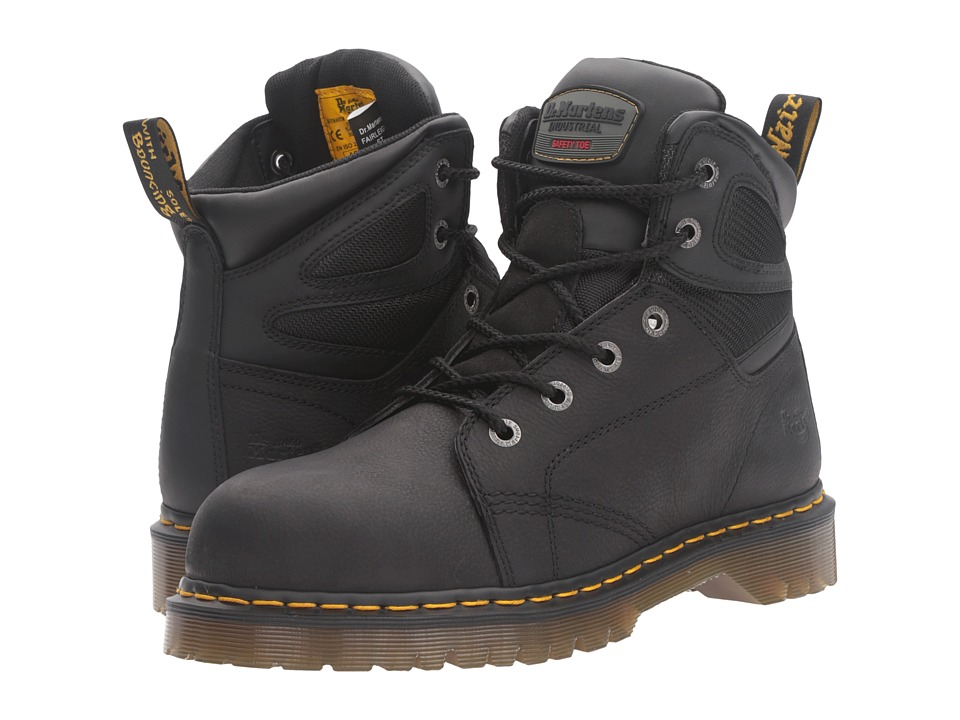 Dr. Martens Work - Fairleigh Steel Toe 6-Eye Boot (Black Overlord) Work Lace-up Boots