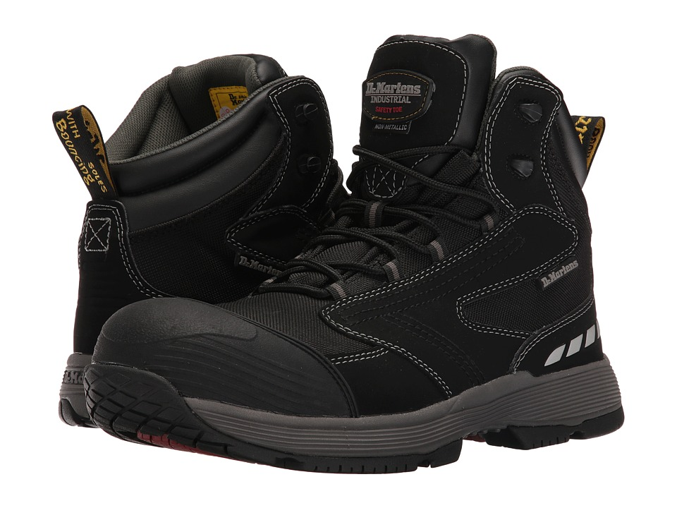 Dr. Martens Work Vane Non-Metallic Electrical Hazard Composite Toe 6-Tie Boot (Black Hi Buck) Men