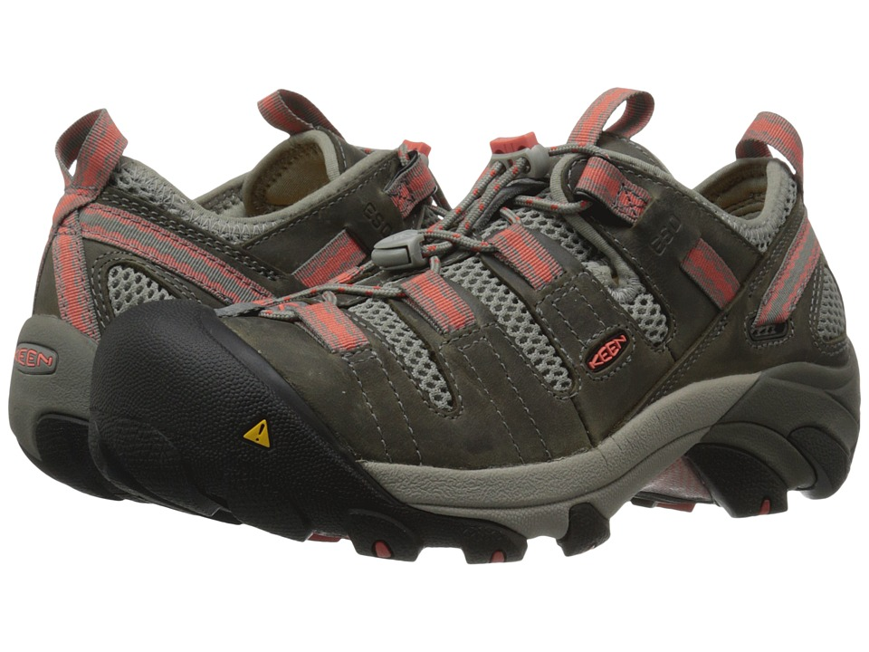Keen Utility Atlanta Cool ESD Soft Toe Gargoyle/Hot Coral Womens Industrial Shoes