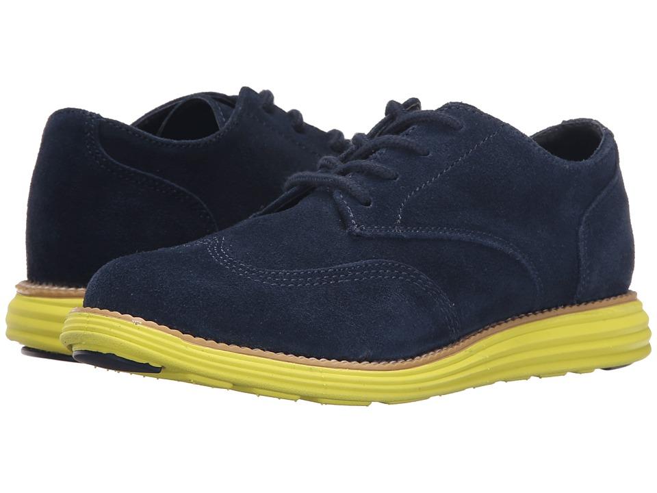 Cole Haan Kids Grand Oxford Little Kid/Big Kid Navy Suede/Wasabi Green Boys Shoes