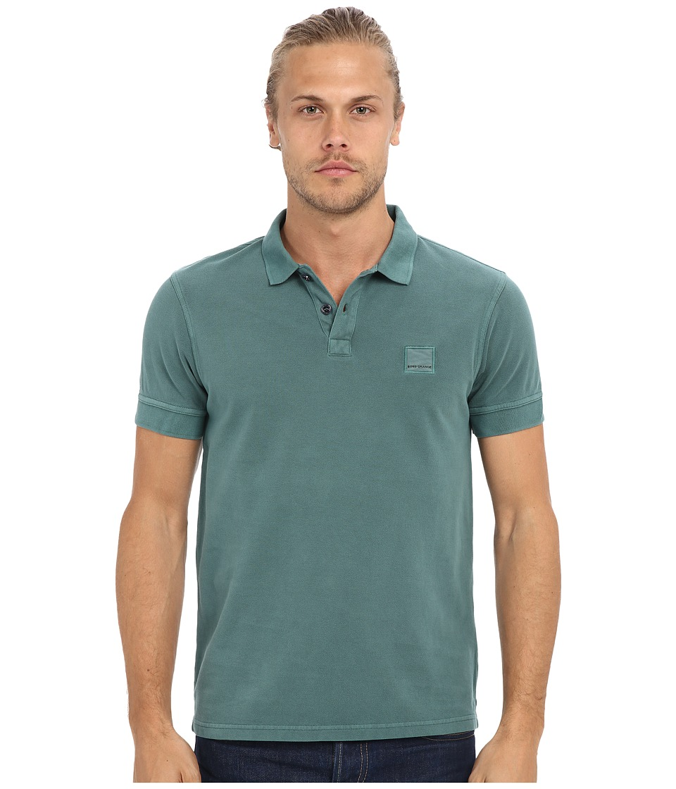 BOSS Orange Pascha Slim Fit Saltwash Piquet Polo Green Mens Short Sleeve Pullover