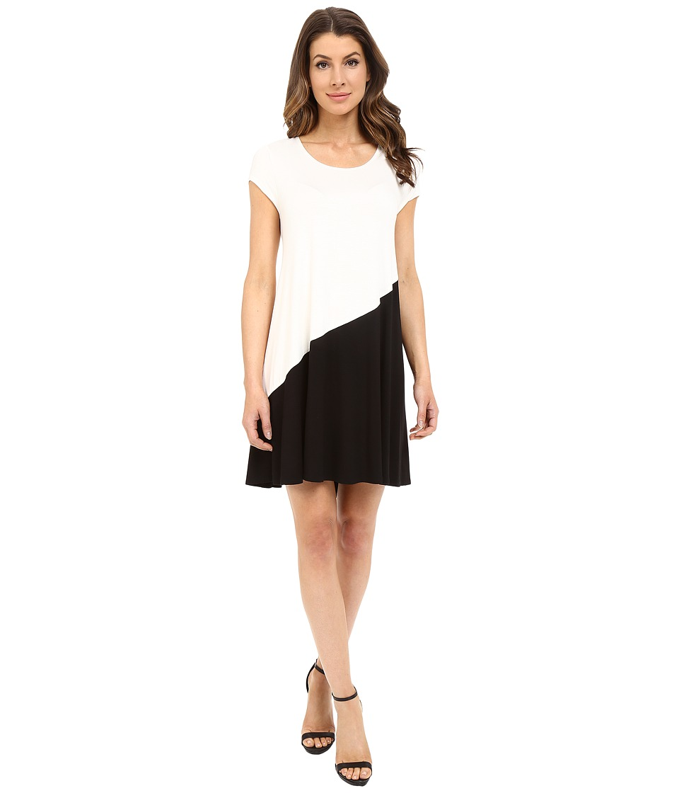 Karen Kane Color Block Maggie Trapeze Dress (Cream/Black) Women