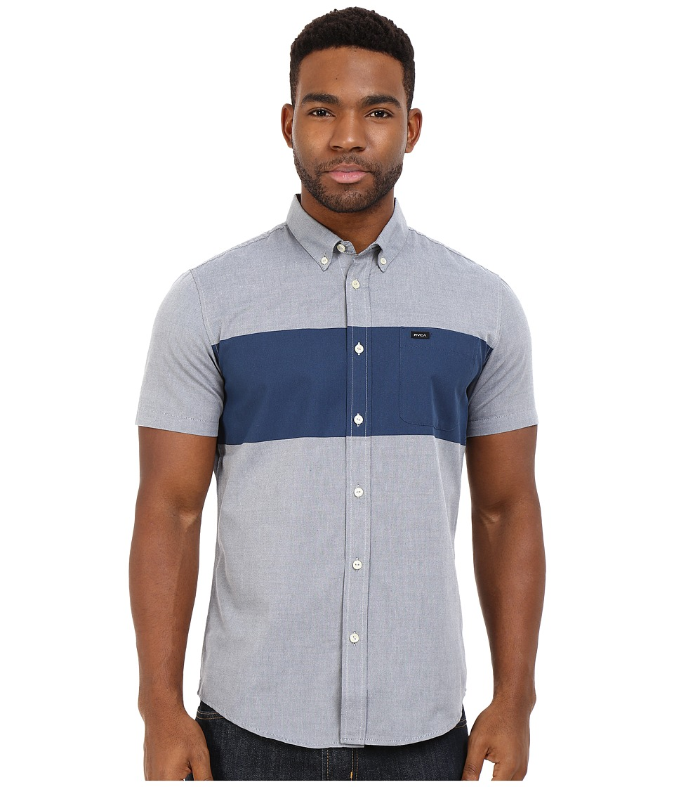 RVCA Thatll Do Bar Short Sleeve Woven Distant Blue Mens Clothing