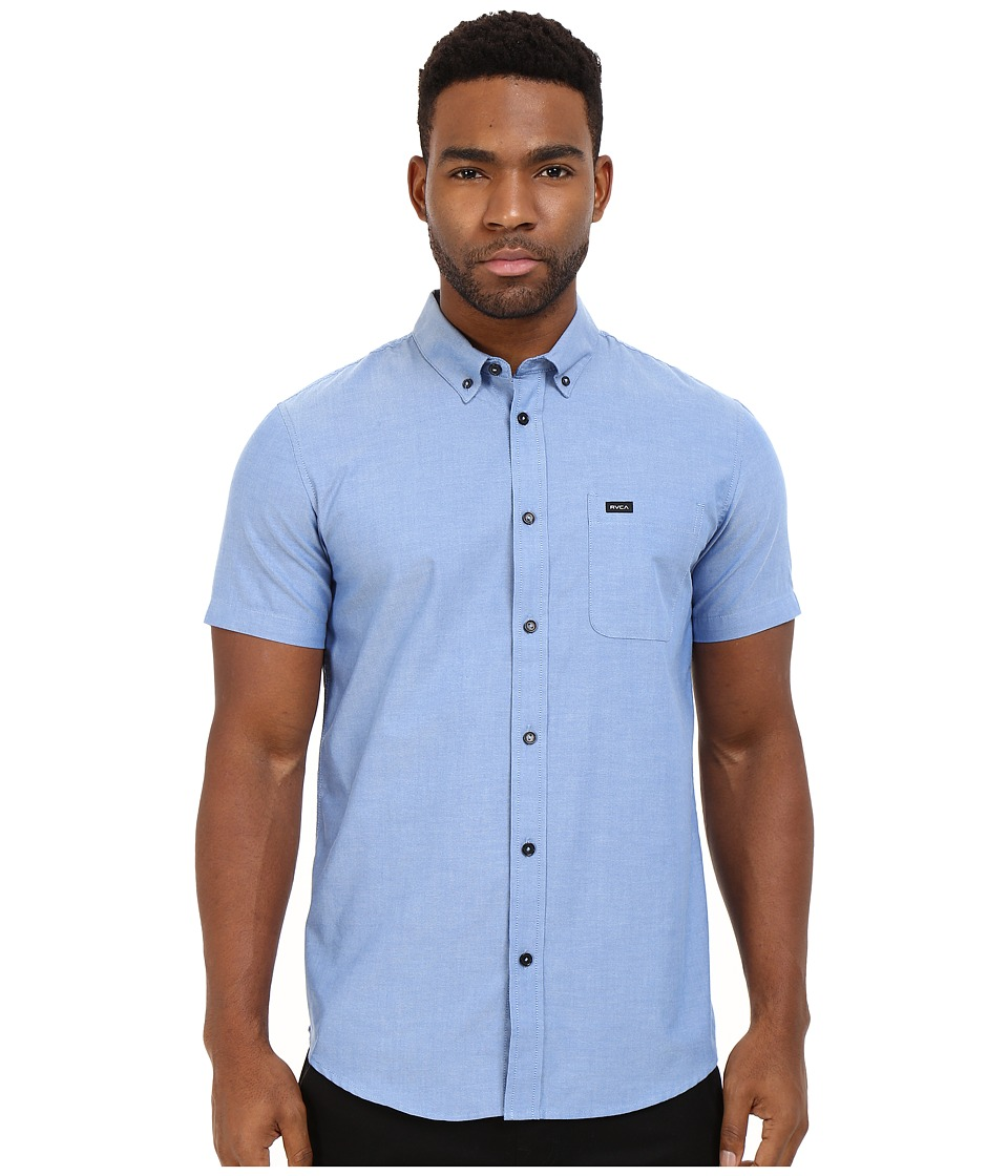 RVCA Thatll Do Oxford Short Sleeve Woven Olympian Blue Mens Short Sleeve Button Up
