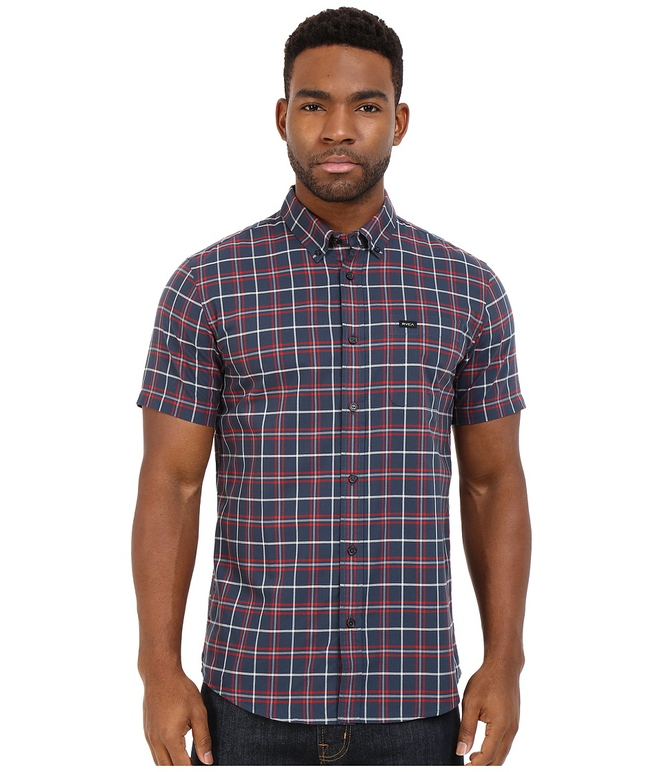 RVCA Thatll Do Plaid Short Sleeve Woven Dark Denim Mens Clothing