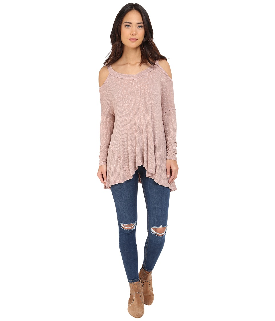 Brigitte Bailey Brailyn Cold Shoulder Ribbed Top Mauve Womens Clothing