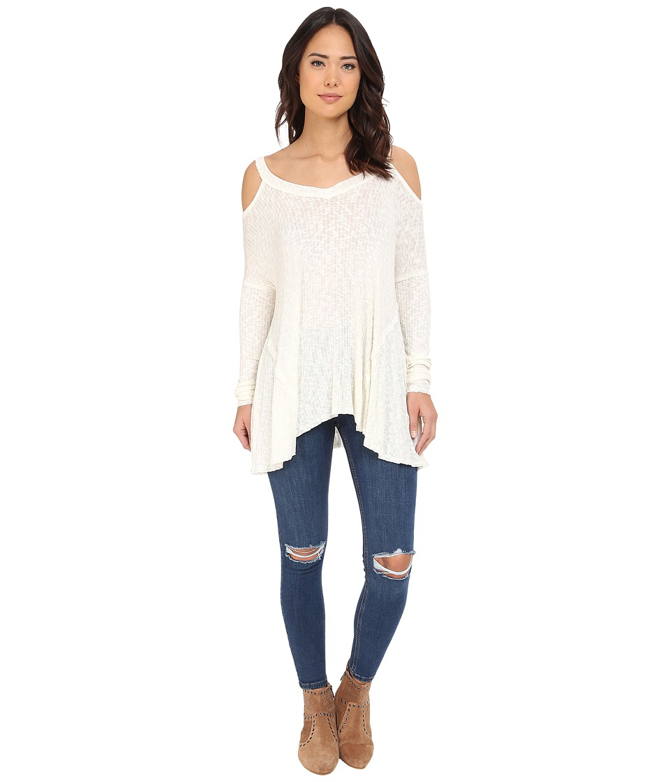 Brigitte Bailey Brailyn Cold Shoulder Ribbed Top Ivory Womens Clothing