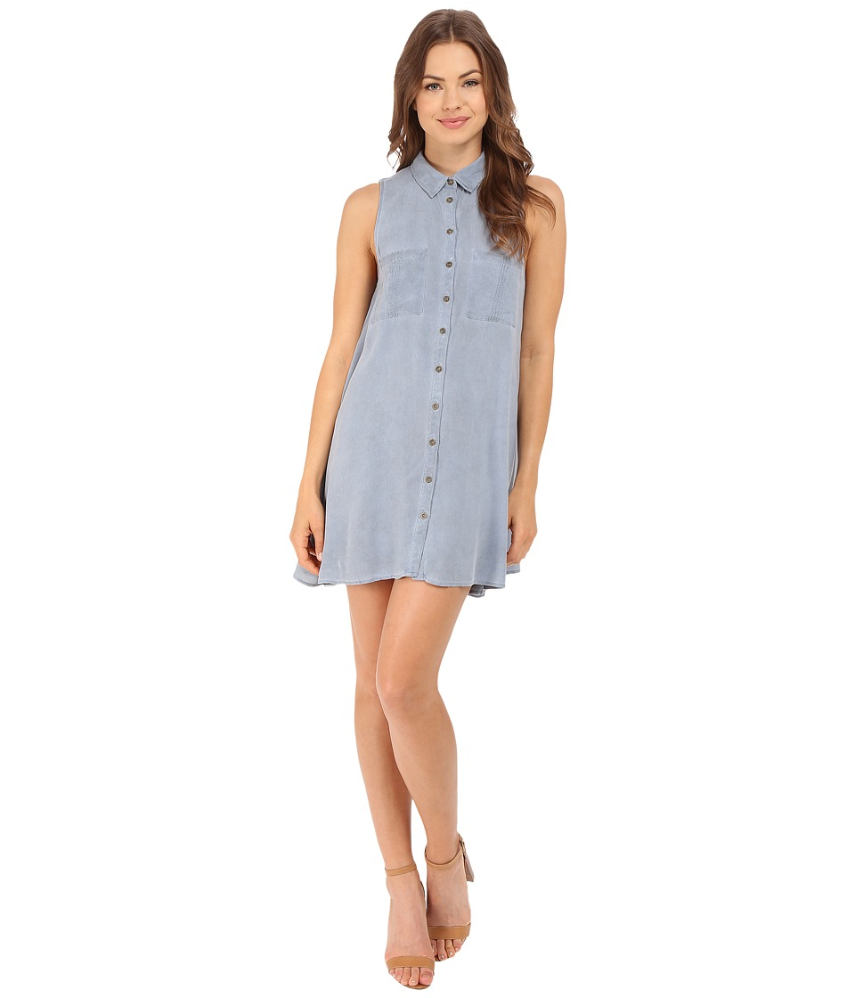 Brigitte Bailey Embry Button Down Two Pocket Dress Light Blue Womens Dress