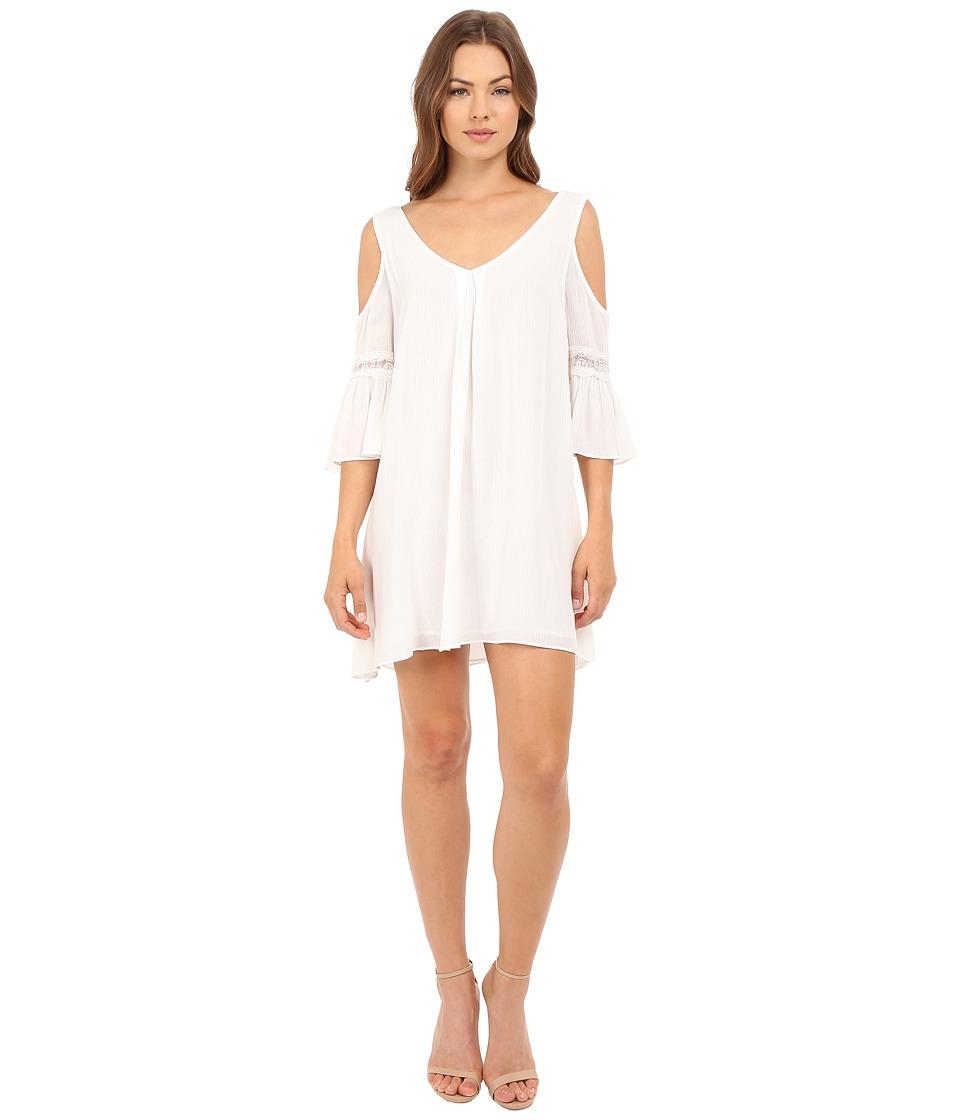 Brigitte Bailey Analia Cold Shoulder Dress with Lace Detail Cream Womens Dress