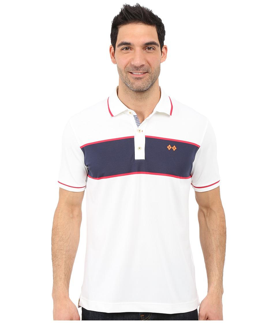 Robert Graham Argento Polo White Mens Short Sleeve Knit