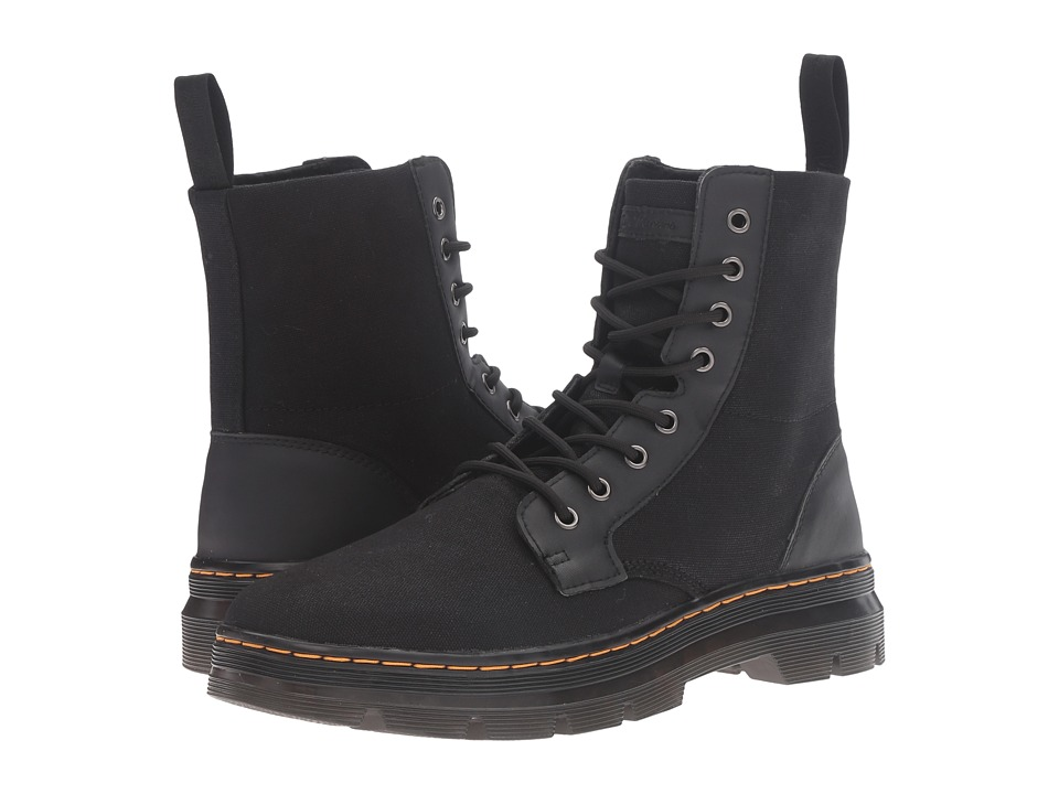 Dr. Martens Combs 8-Eye Boot (Black 12oz. Waxy Canvas/Kanga) Lace-up Boots