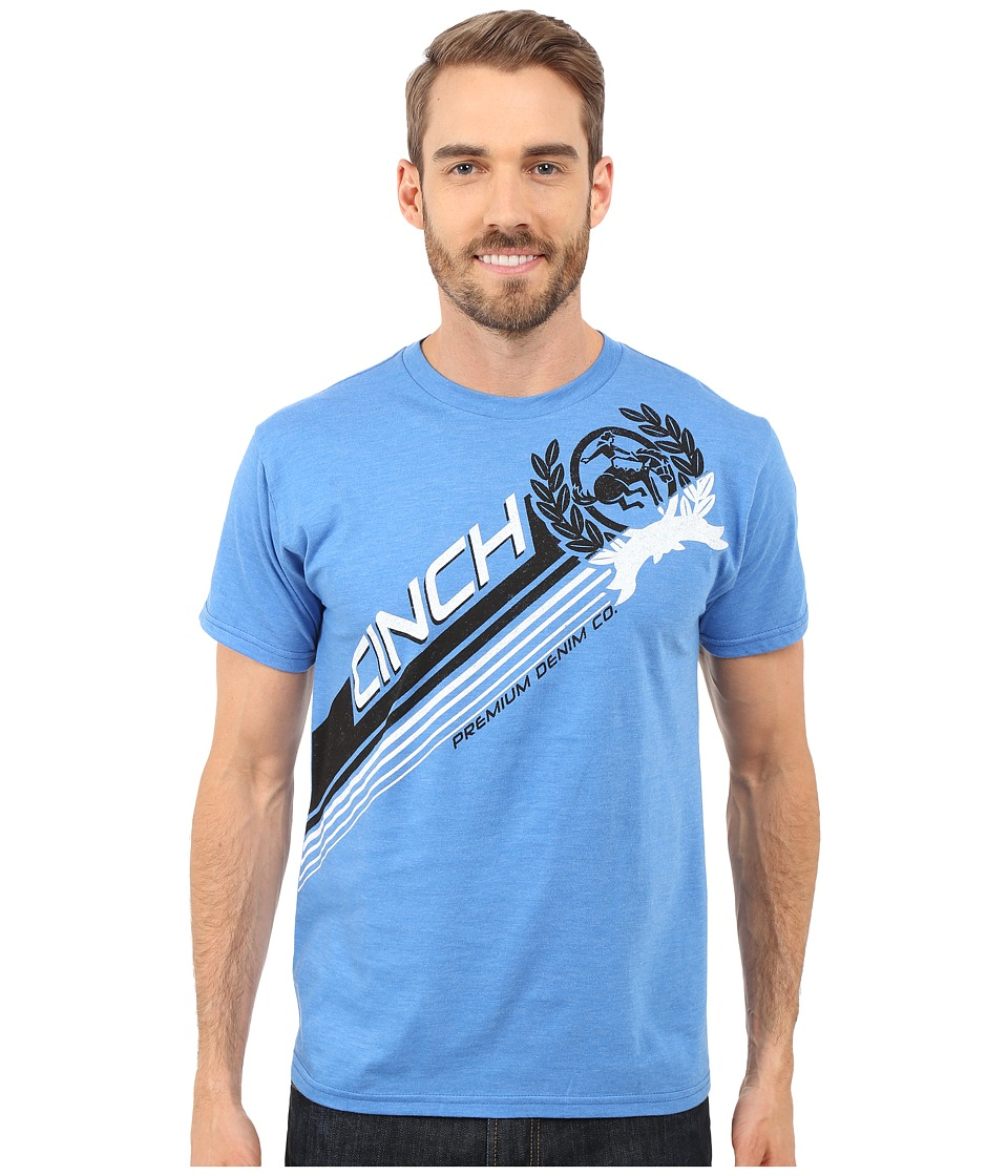 Cinch Basic Tee Short Sleeve Ringspun Heathered Blue Mens T Shirt