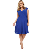 London Times - Plus Size Shirred Shoulder Fit and Flare