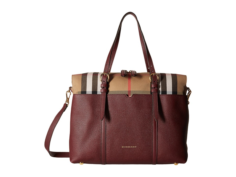 Burberry Kids Mason House Check and Leather Baby Changing Bag (Mahogany Red) Satchel Handbags