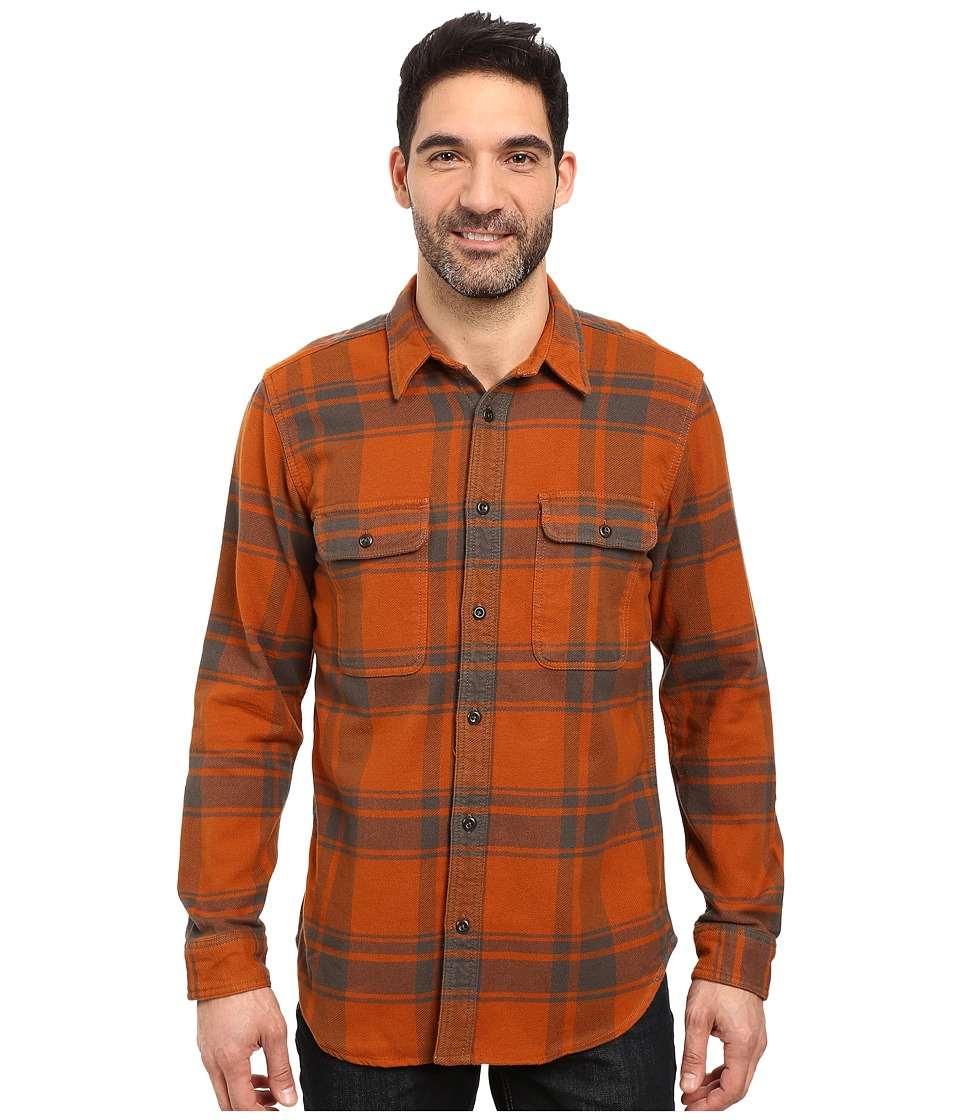 1930s Style Mens Shirts Filson - Vintage Flannel Work Shirt OrangeCharcoal Mens Clothing $115.99 AT vintagedancer.com