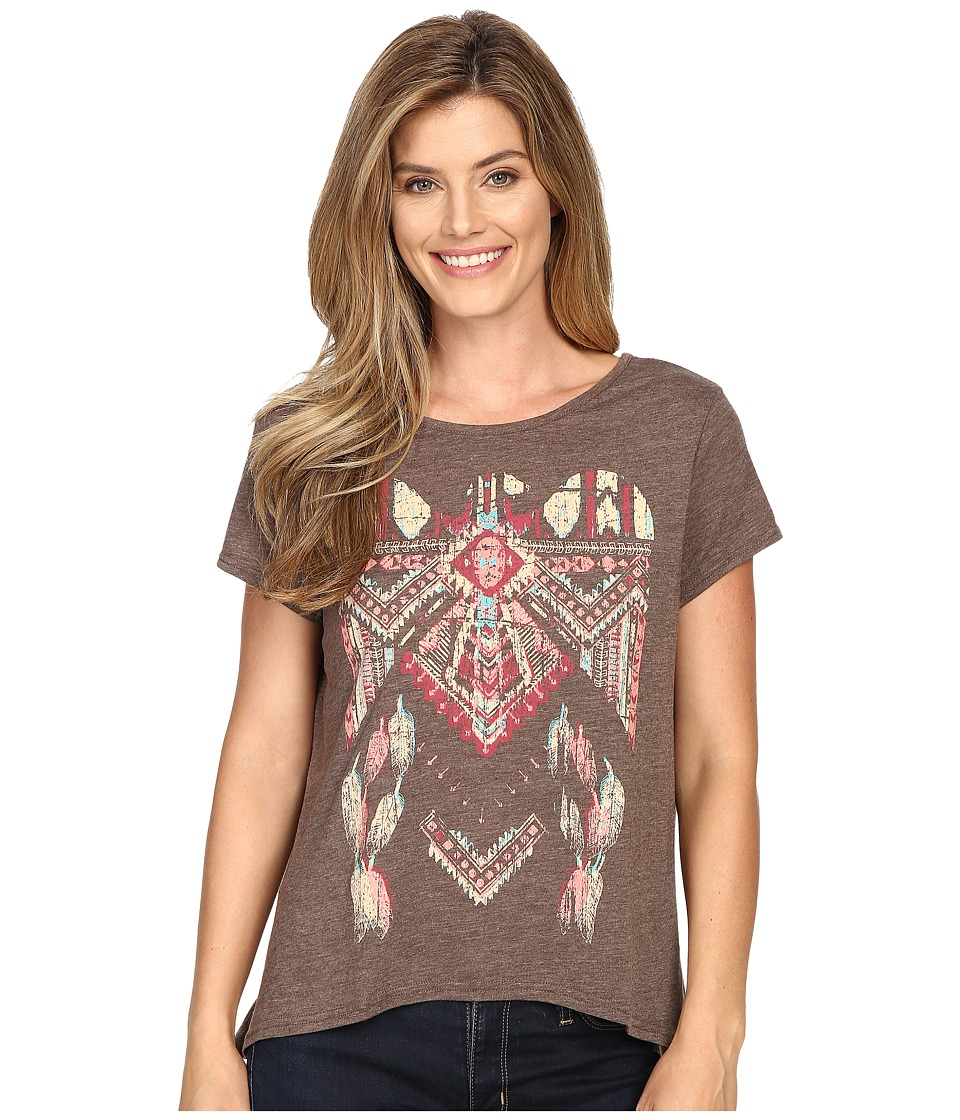 Roper - 0428 Lightweight Heather Jersey Slouchy Tee (Brown) Women
