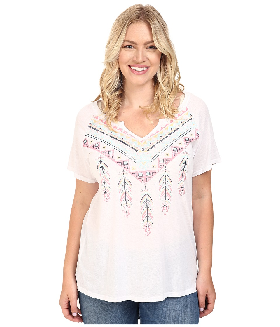 Roper Plus Size 0432 Lightweight Jersey Split Neck Tee (White) Women