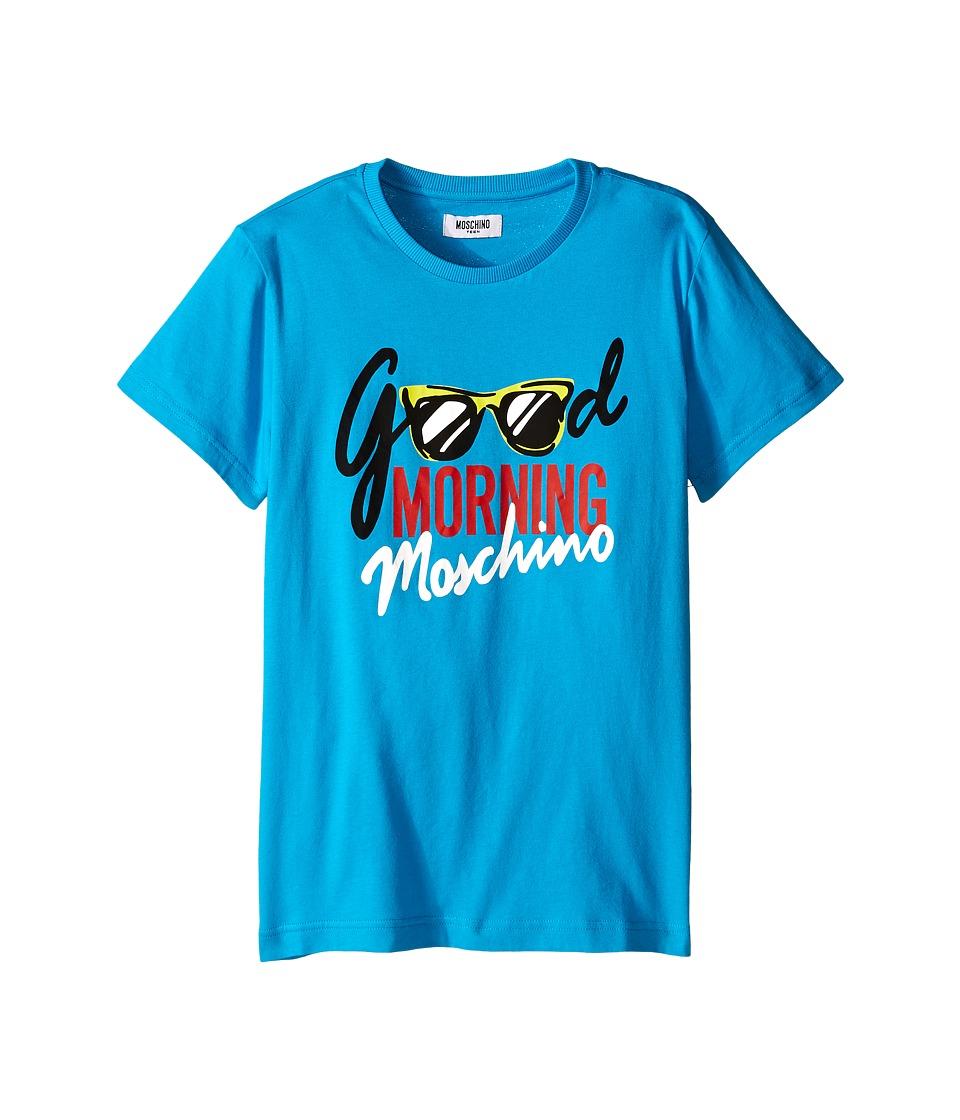 Moschino Kids Good Morning T Shirt Big Kids Blue Boys T Shirt