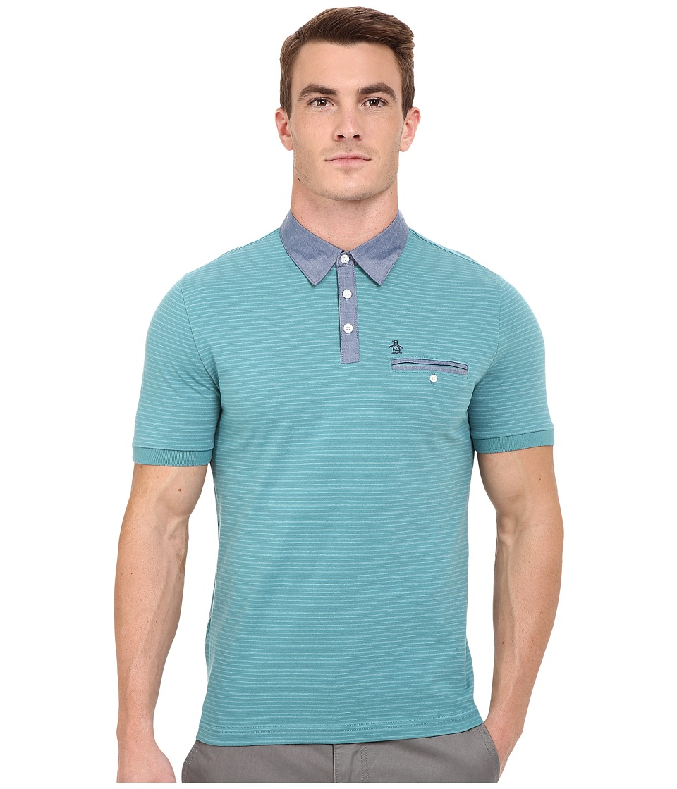 Original Penguin Short Sleeve Shadow Stripe Polo with Chambray Collar Brittany Blue Mens Short Sleeve Pullover