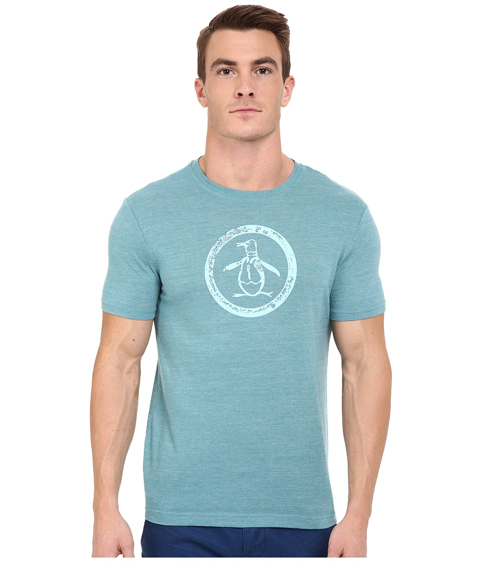 Original Penguin Triblend Distressed Circle Logo Tee Brittany Blue Mens T Shirt