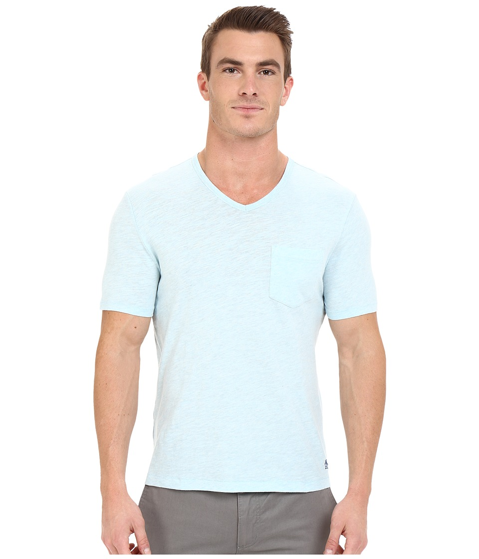 Original Penguin Bing V Neck Crystal Blue Mens T Shirt