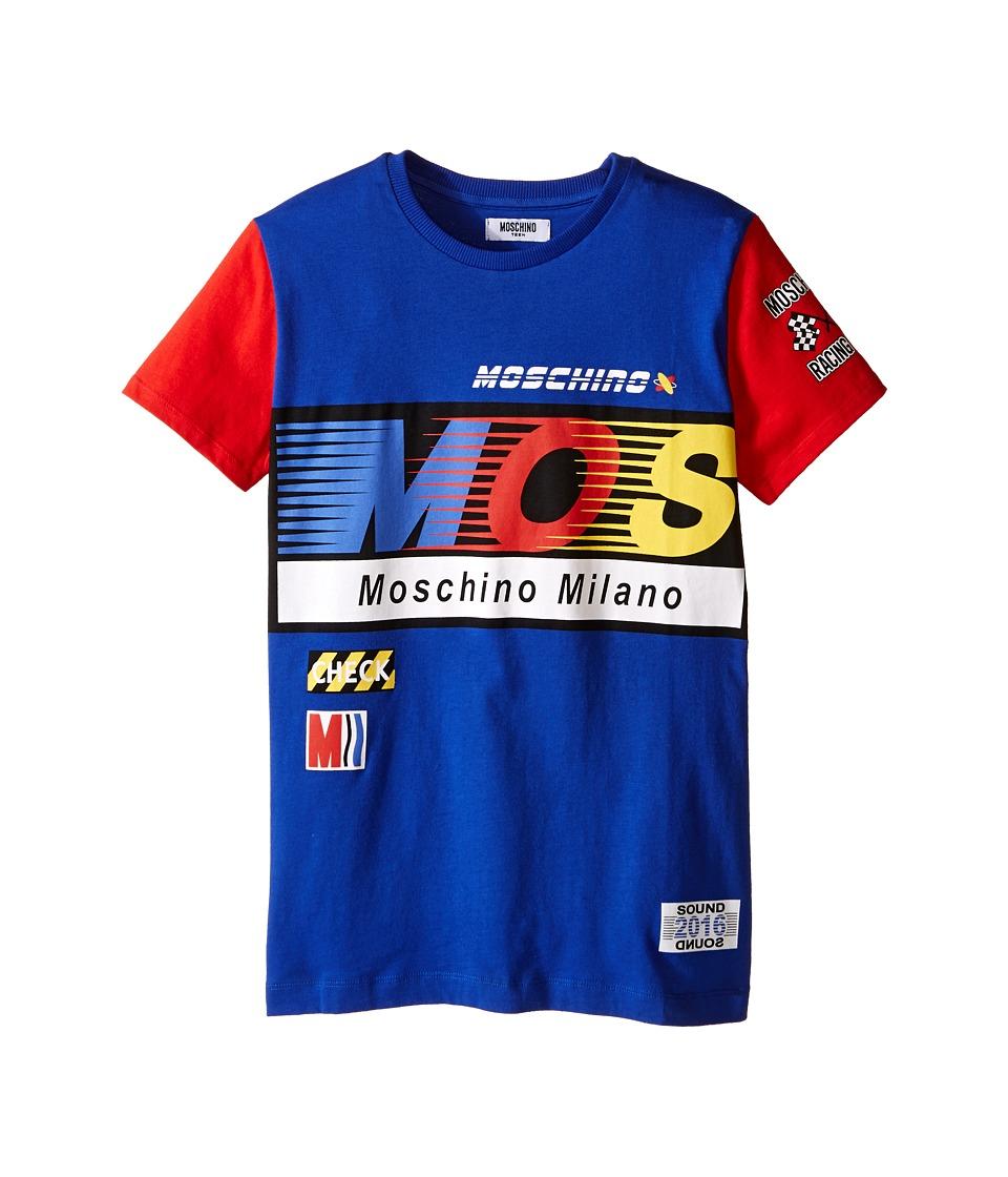 Moschino Kids Logo Short Sleeve T Shirt Big Kids Blue Boys T Shirt