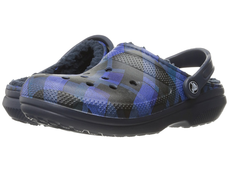 Crocs Classic Lined Graphic Clog (Navy/Cerulean Blue) Clog Shoes