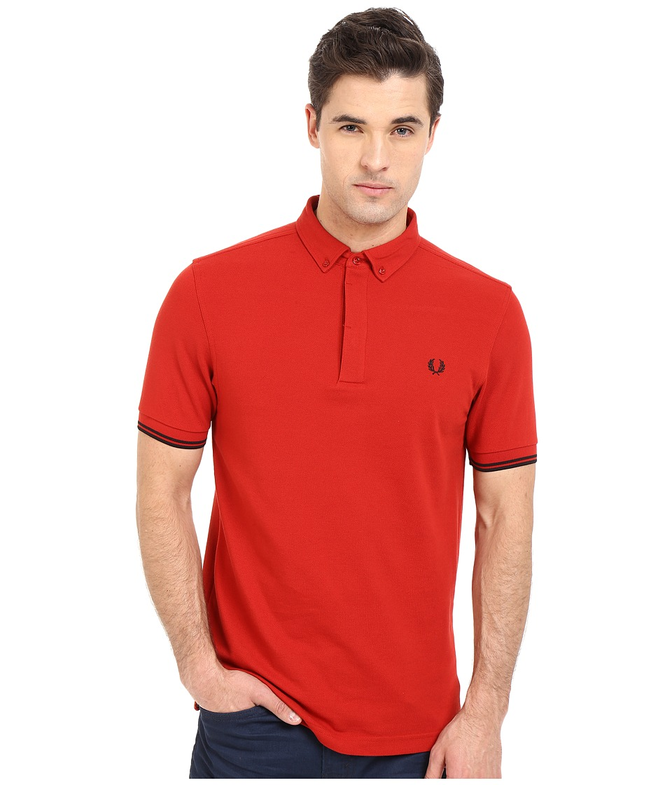 Fred Perry Concealed Placket Shirt Wallace Red Mens Short Sleeve Pullover