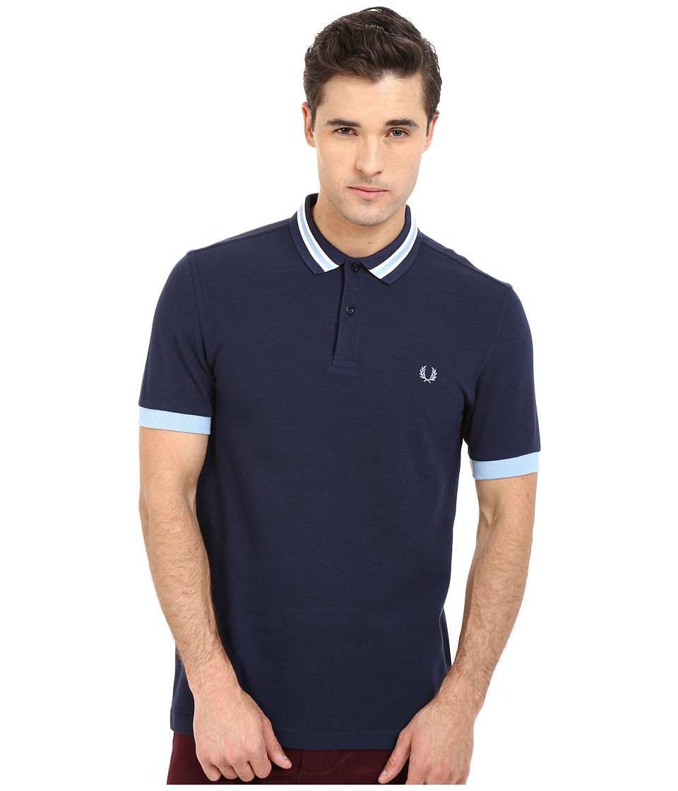 Fred Perry Bomber Stripe Collar Shirt Carbon Blue Mens Clothing