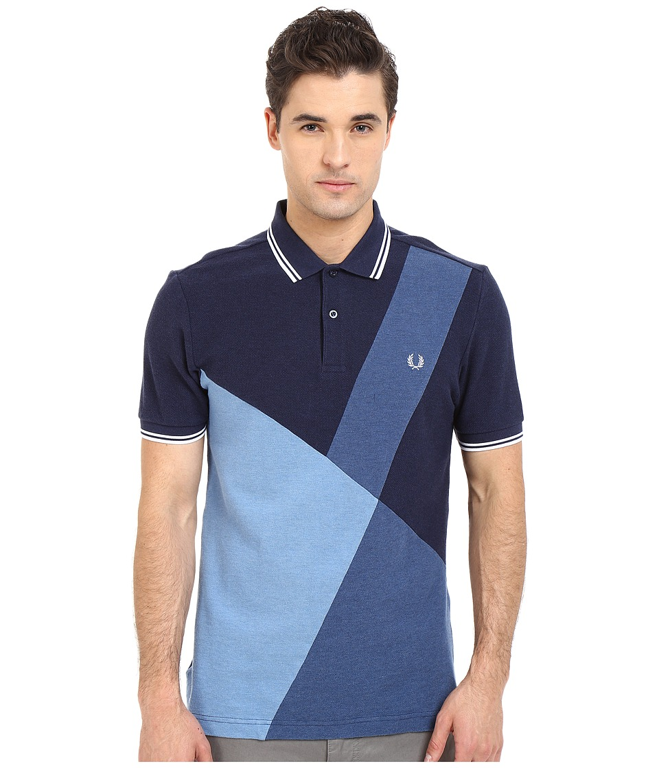 Fred Perry Blue Colour Block Panel Shirt Blue Marl Mens Short Sleeve Pullover