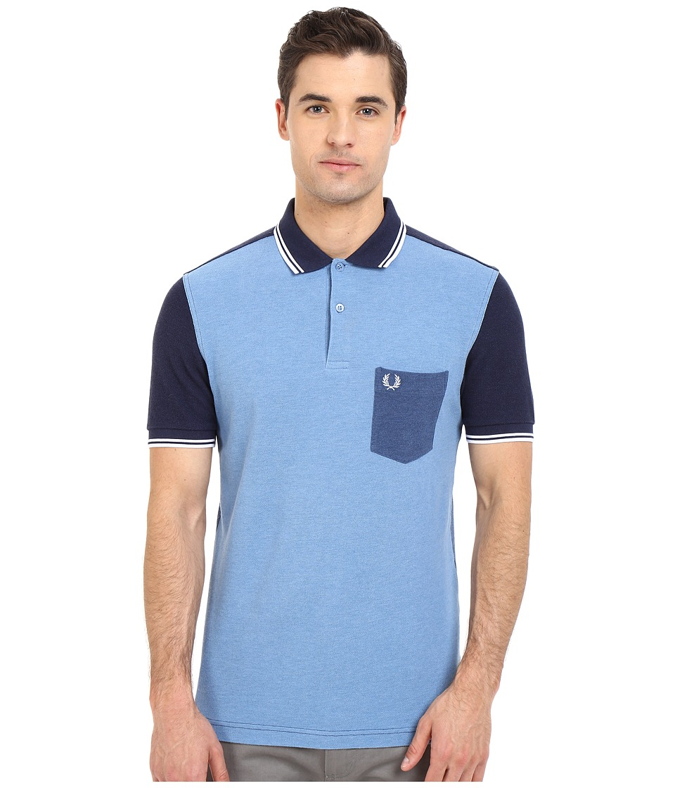 Fred Perry Blue Colour Block Shirt Blue Marl Mens Short Sleeve Pullover
