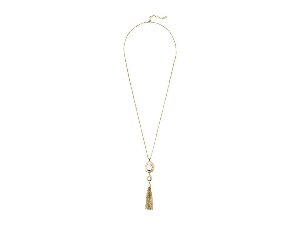 Cole Haan Stone Tassel Pendant Necklace Gold/Dark Pink/Rose Quartz Necklace
