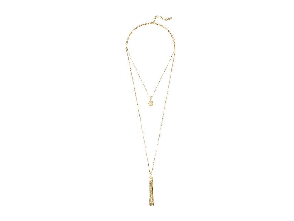 Cole Haan Stone Tassel Fringe Pendant Necklace Gold/Rose Quartz Necklace