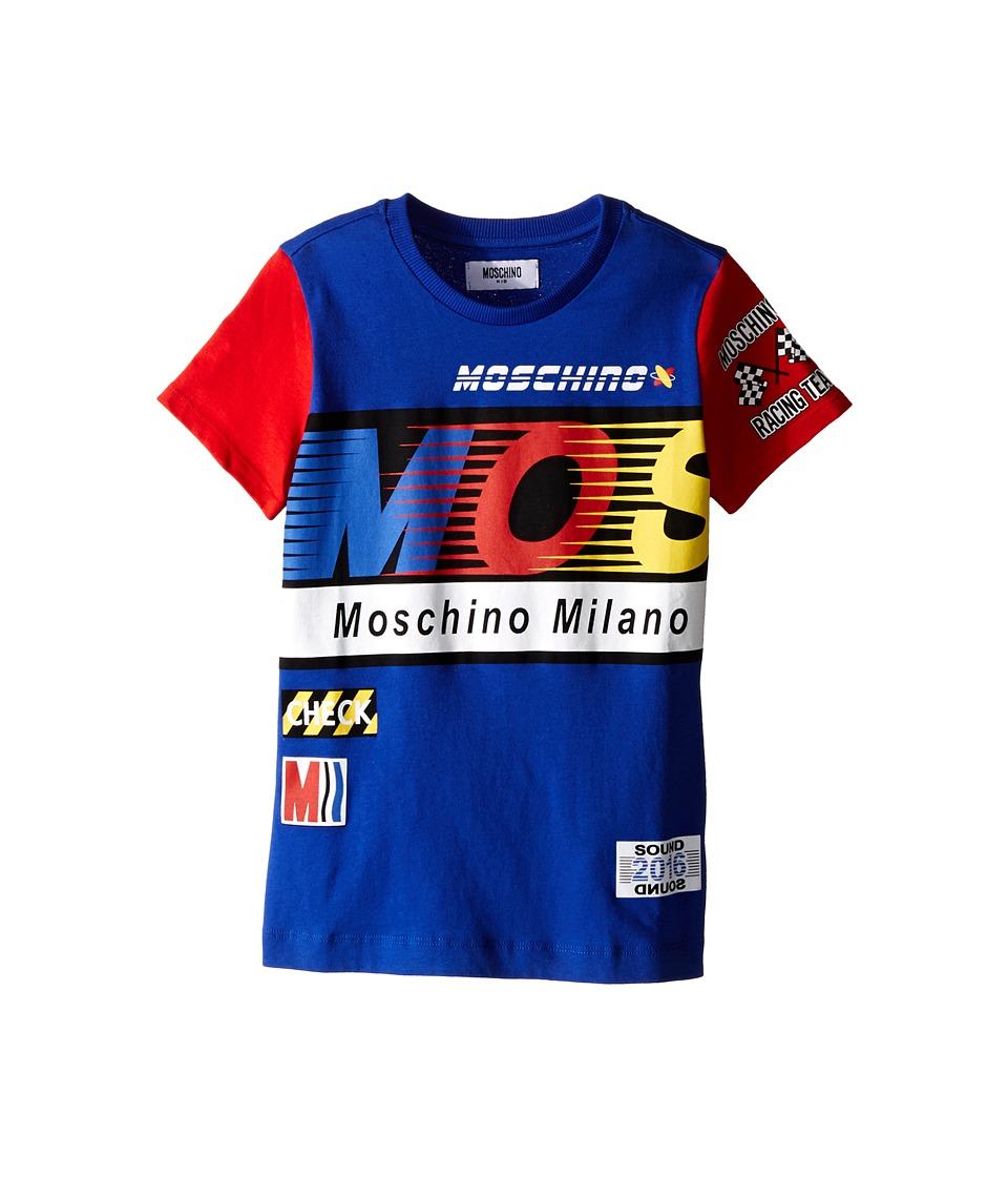 Moschino Kids Logo Short Sleeve T Shirt Little Kids/Big Kids Blue Boys T Shirt
