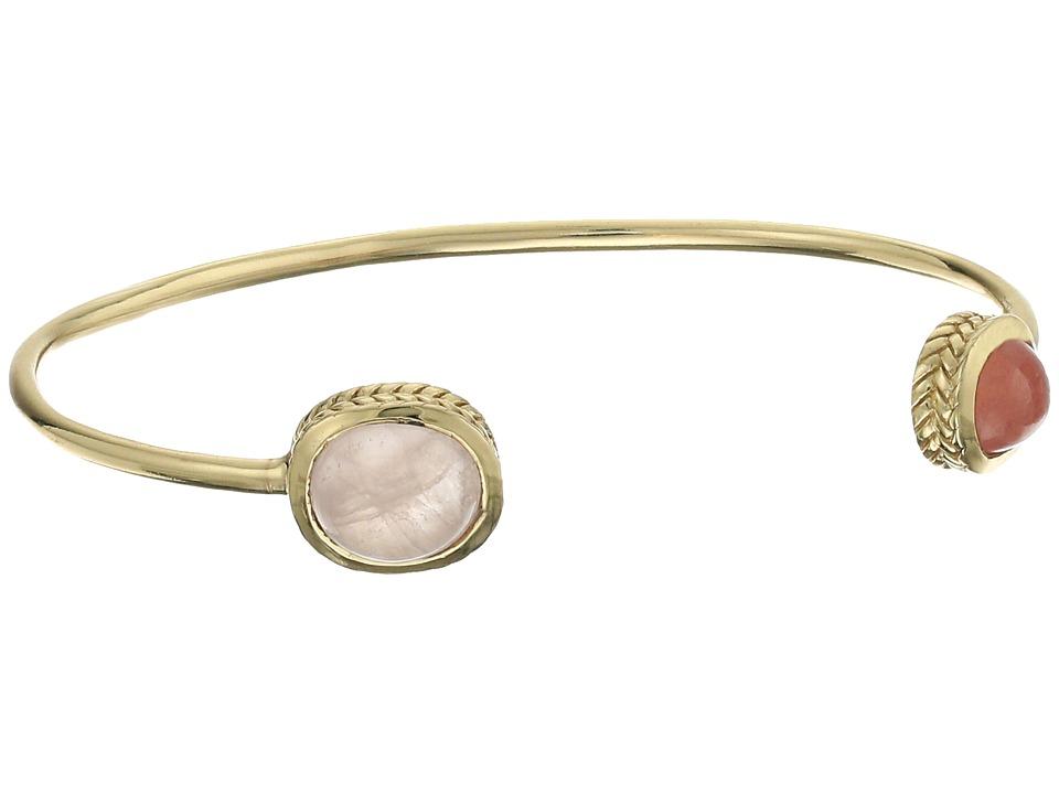 Cole Haan 2 Stone Open C Cuff Bracelet Gold/Rhodochrosite/Rose Quartz Bracelet