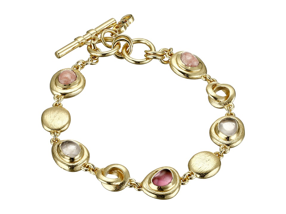 Cole Haan Stone Line Bracelet Gold/Rose Quartz/Rhodochrosite/Dark Pink Bracelet