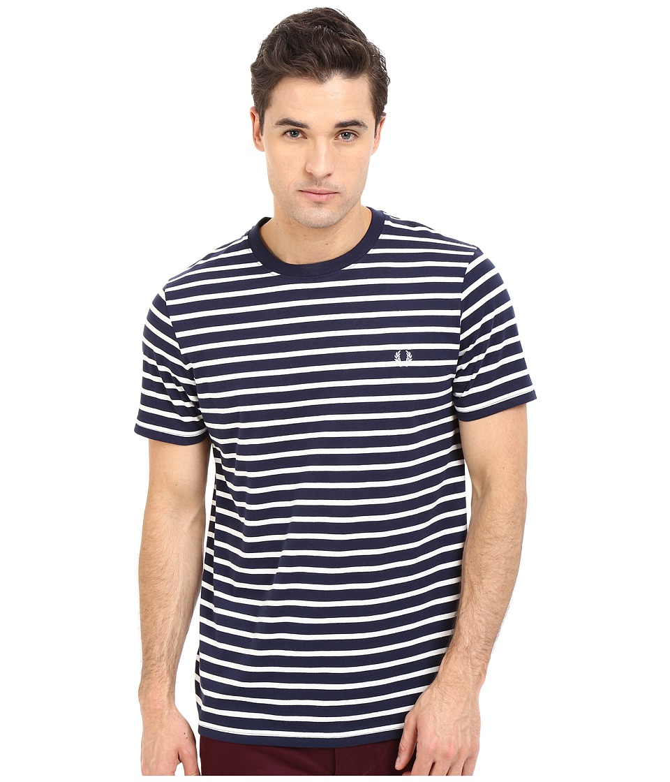 Fred Perry Breton Stripe T Shirt Carbon Blue Mens Short Sleeve Pullover