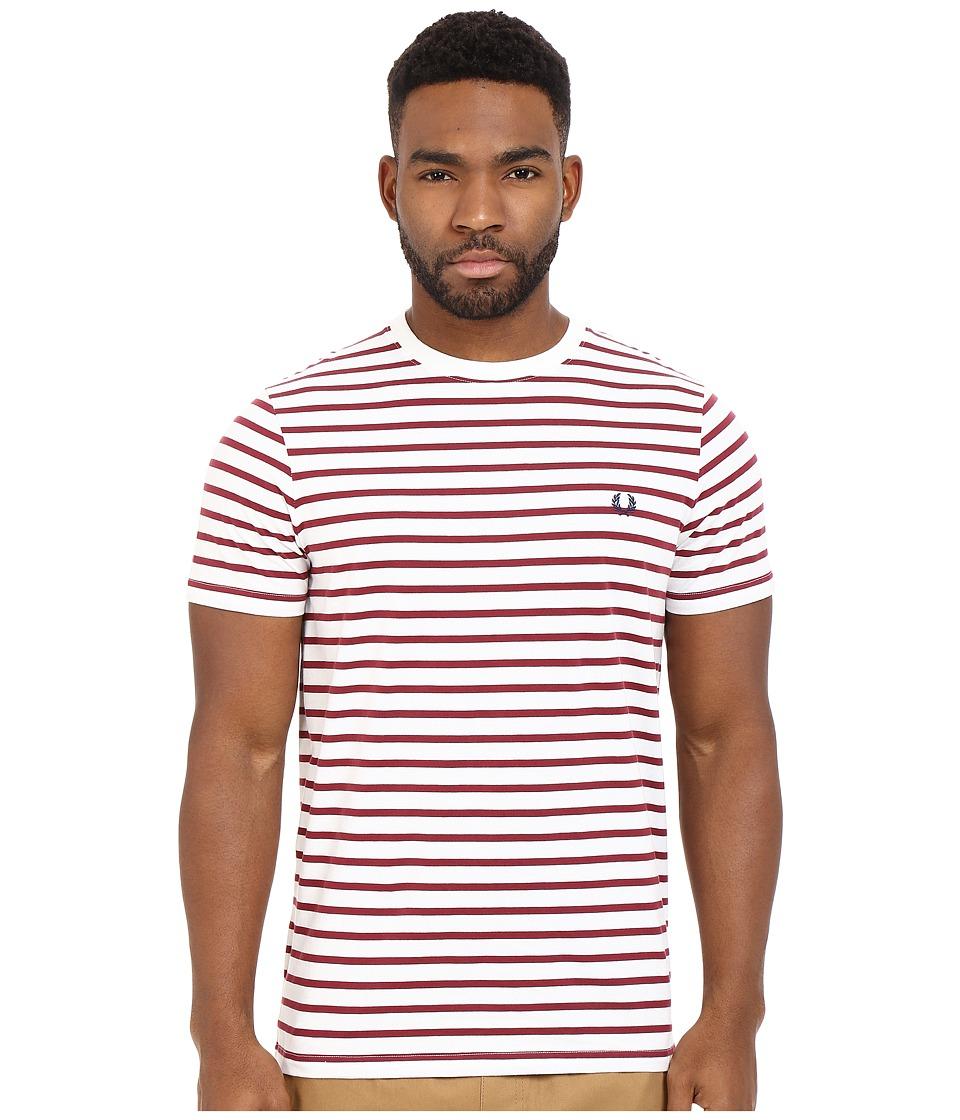 Fred Perry Breton Stripe T Shirt Porcelain Mens Short Sleeve Pullover