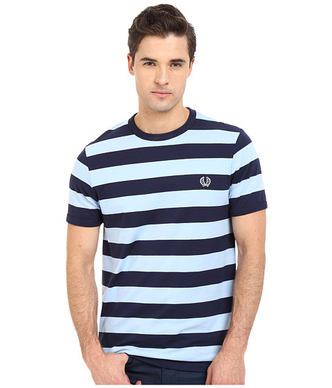 Fred Perry Striped Sports T Shirt Carbon Blue