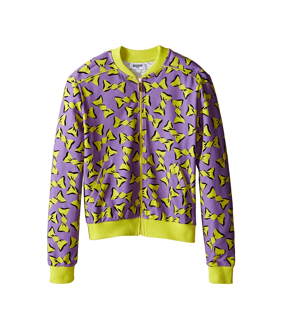 Moschino Kids - Zipped Candy Print Sweatshirt (Big Kids) (Purple) Girl