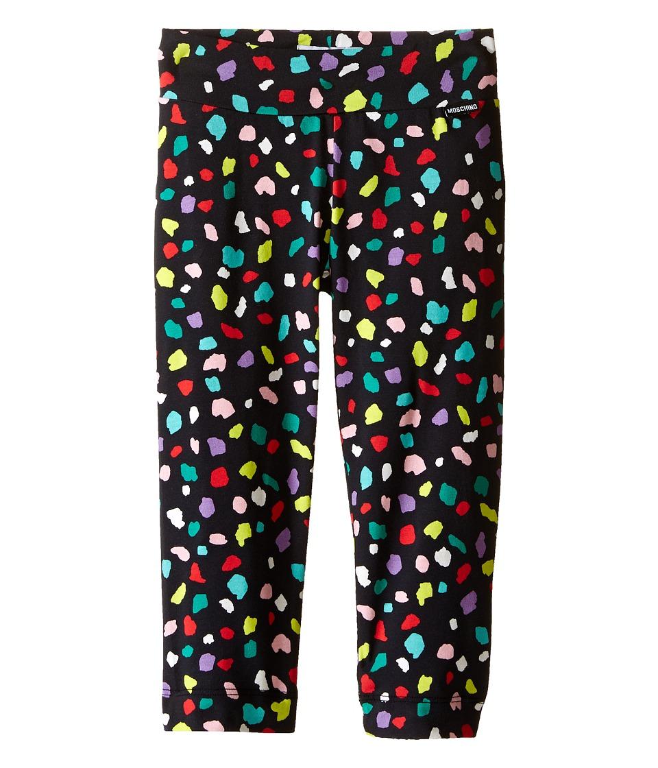 Moschino Kids Confetti Print Leggings Little Kids/Big Kids Black Girls Casual Pants
