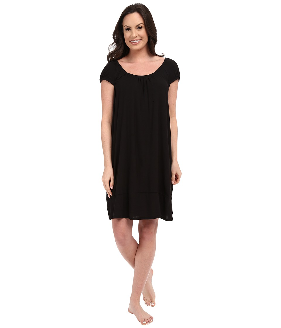 DKNY Urban Essentials Cap Sleeve Short Sleepshirt Black Womens Pajama