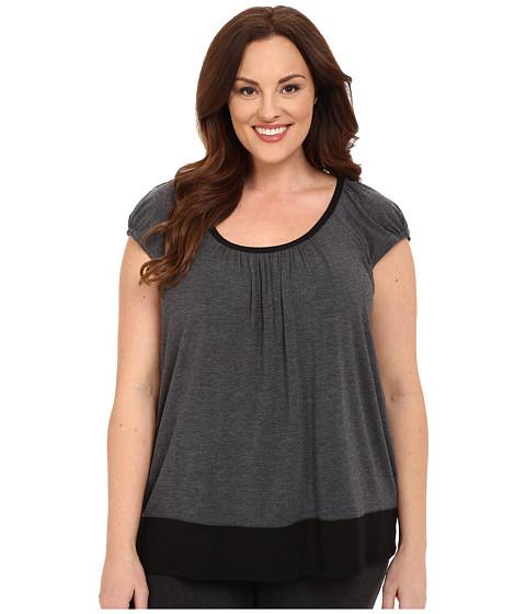 DKNY Plus Size Urban Essentials Short Sleeve Top - Heather Coal