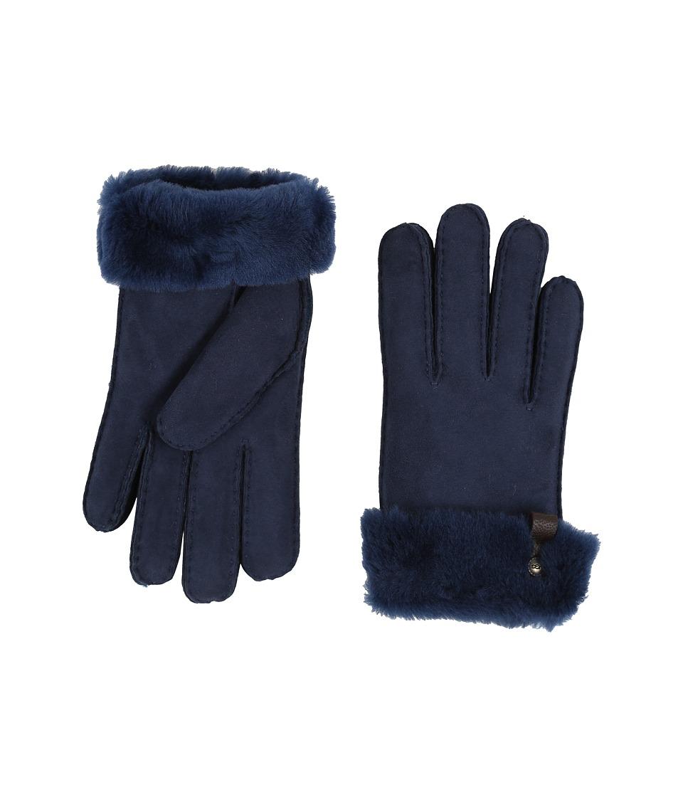UGG Tenney Glove with Leather Trim (Indigo Multi) Dress Gloves