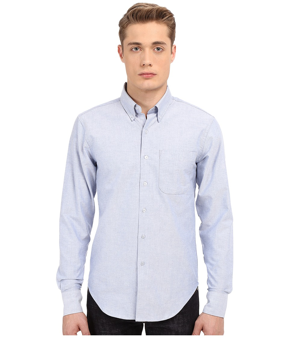 Naked amp Famous Regular Fit Oxford Shirt Blue Mens Long Sleeve Button Up